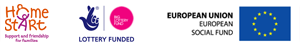 Home-Start Uk Logo - Lottery Funded Logo and European Social Fund Logo